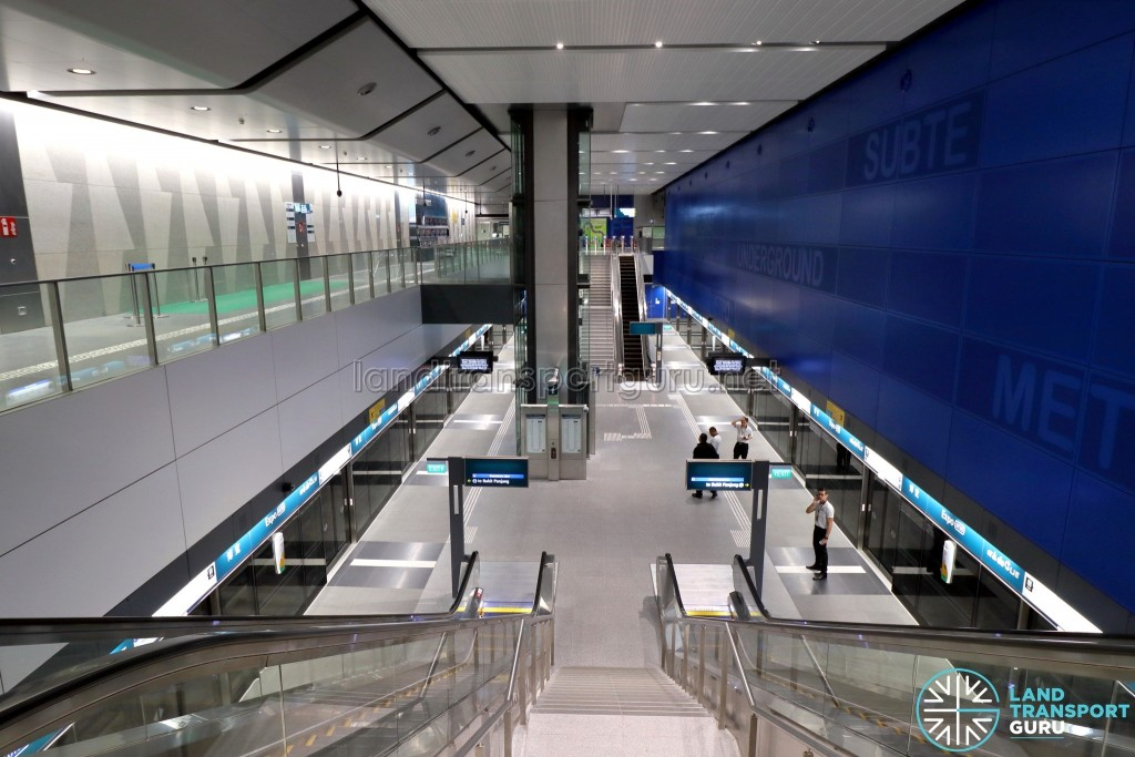 Expo MRT Station (DTL) - Overhead view of Platform level