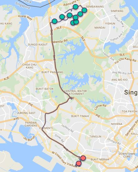 Route G48 at a glance. Map Image: Beeline.sg