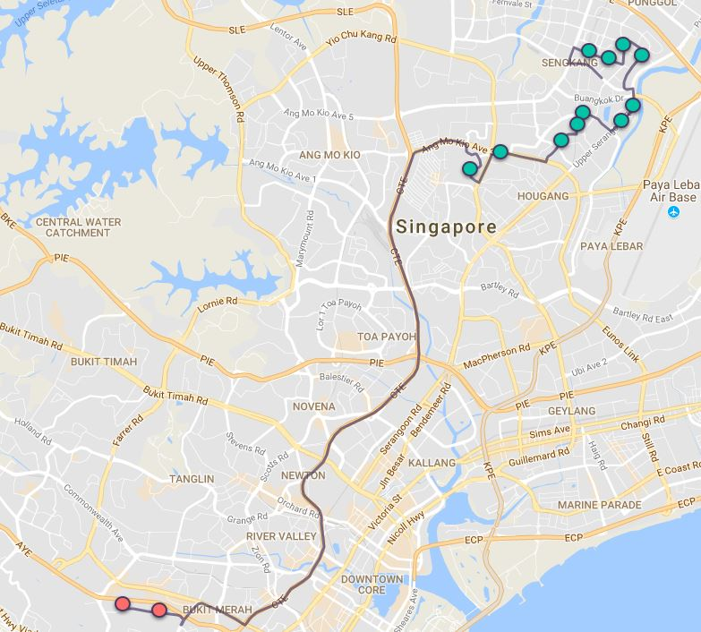 Route G52 at a glance. Map Image: Beeline.sg