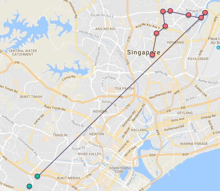 Route G53 at a glance. Map Image: Beeline.sg