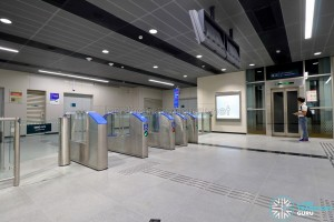 Jalan Besar MRT Station - Faregates at Underpass Level (B1) to direct platform level lift