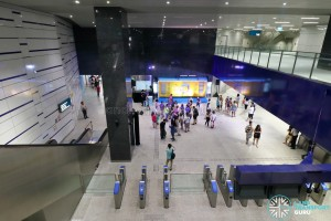 Kaki Bukit MRT Station - Overhead view of tcket concourse (DTL3 Open House)