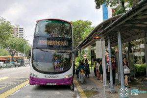 SBS Transit Volvo B9Tl Wright on the Rail Bridging Bus service, at Braddell station