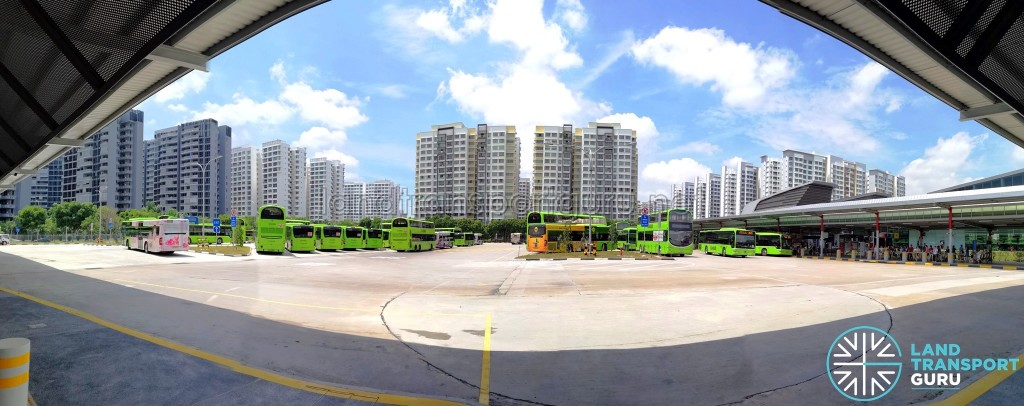 Punggol Bus Interchange: Panorama of Bus Park