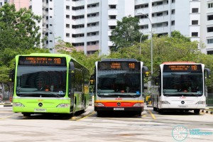 Mercedes-Benz Citaro buses on Service 110 at Compassvale Interchange
