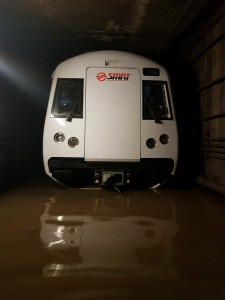 One end of the train was partially submerged