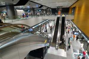 Tampines MRT Station - Overhead view of platform