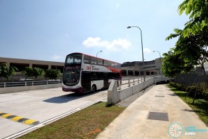 Tuas Bus Terminal - Pedestrian access path to lift lobby, beside vehicular ramp