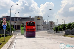 Tuas Bus Terminal - Buses entering the terminal via the vehicular ramp
