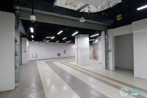 Upper Changi MRT Station - Basement corridor with retail space