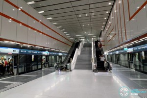 Upper Changi MRT Station - Platform escalators to concourse level