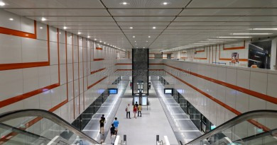 Upper Changi MRT Station - Overhead view of Platform level