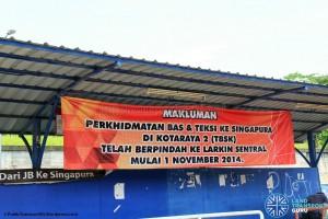 Kotaraya Bus Terminal - Closure banner