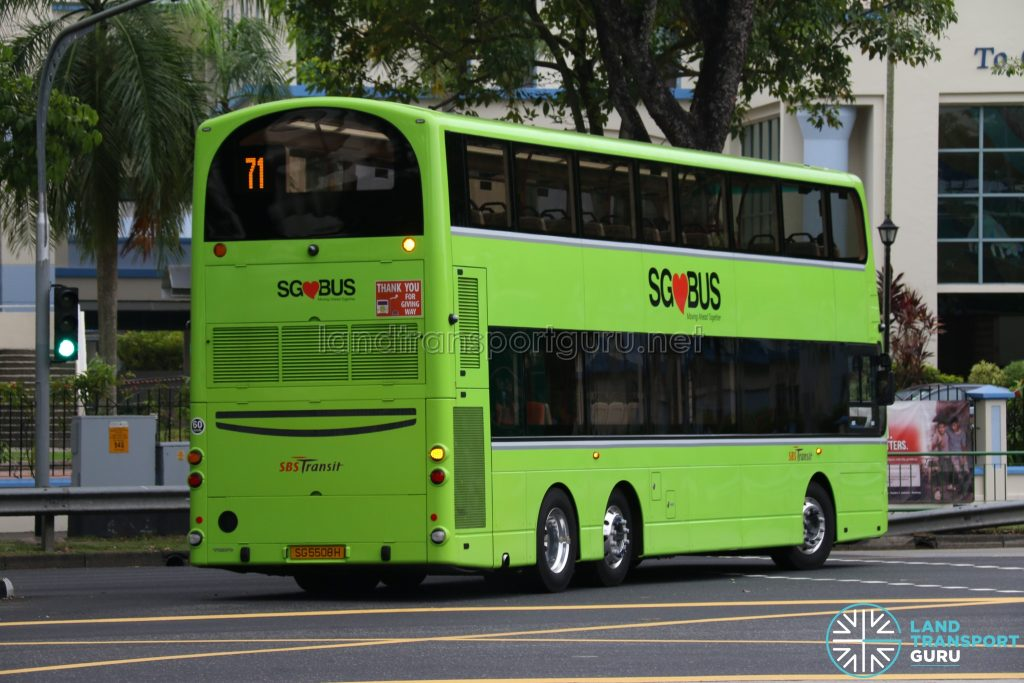 SBS Transit Volvo B9TL Wright (SG5508H) Rear - Service 71