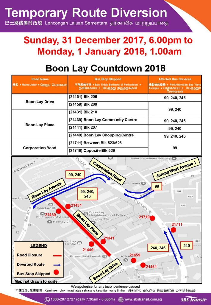 Temporary Route Diversion Poster for Boon Lay Countdown 2018