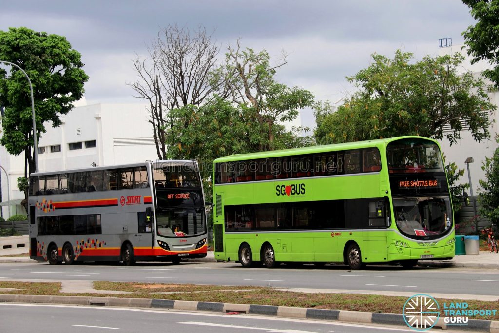 Joo Koon—Gul Circle Free Shuttle: Buses laying over at Gul Circle