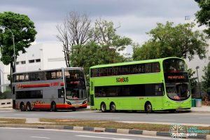 Joo Koon—Gul Circle Free Shuttle: Buses laying over at Gul Circle