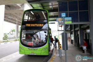 SMRT bus operating the Joo Koon—Gul Circle Free Shuttle Bus Service at Gul Circle