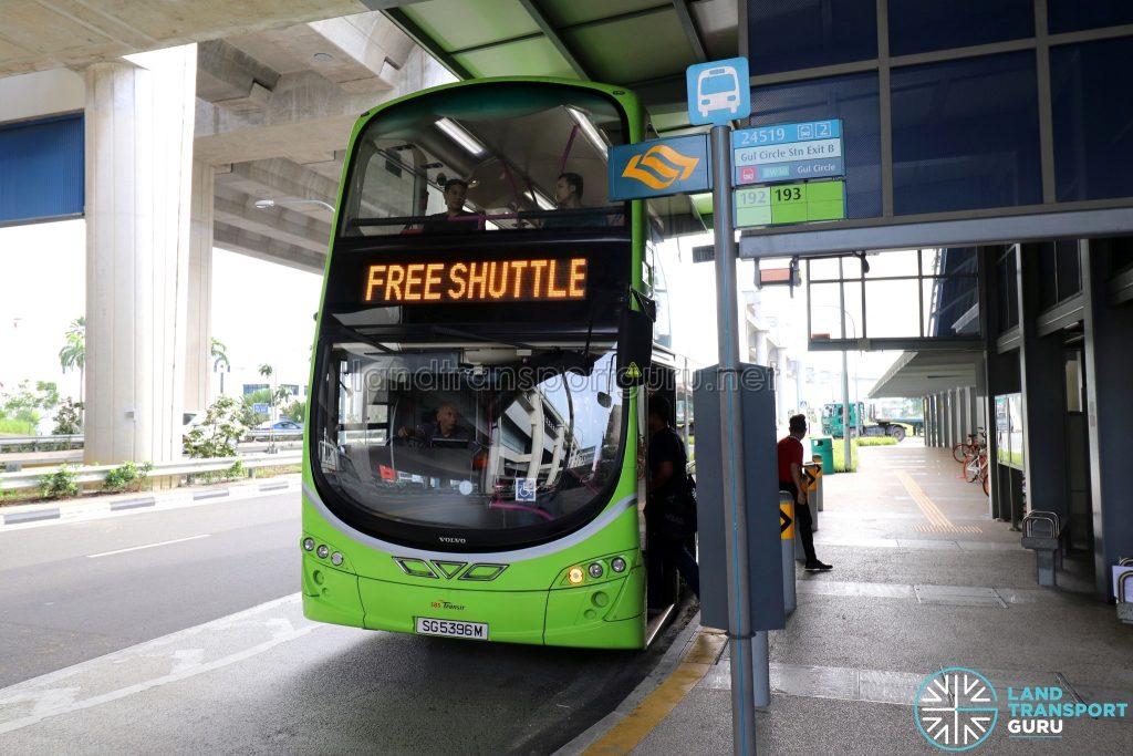 SBS Transit bus operating the Joo Koon—Gul Circle Free Shuttle Bus Service at Gul Circle