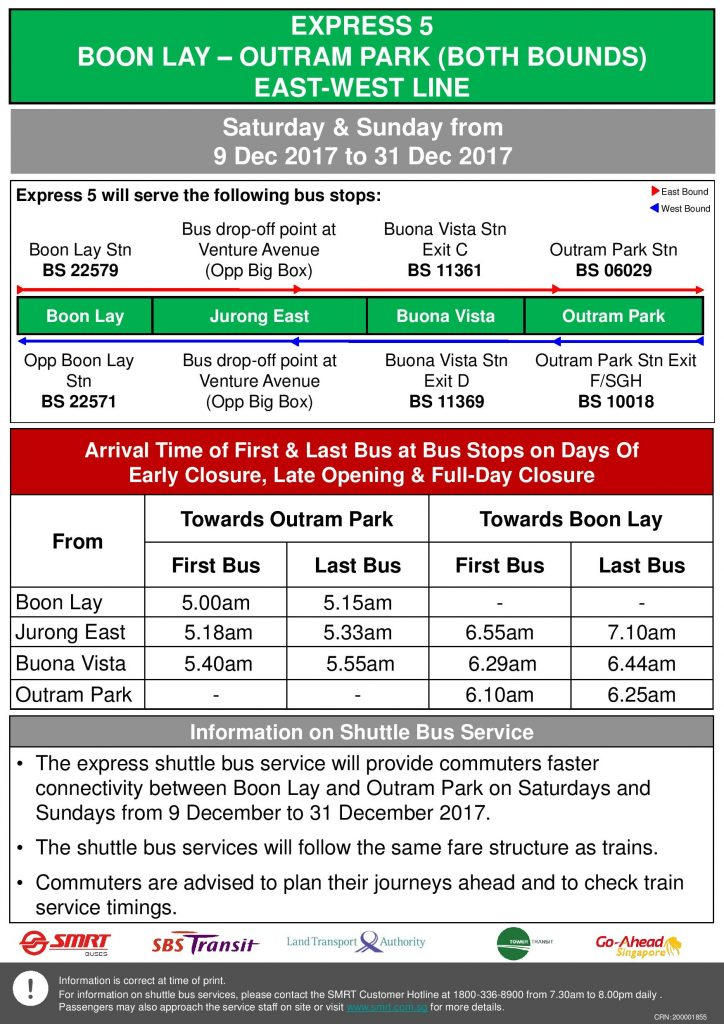 Updated NSEWL Early Closure / Late Opening Dec 2017 - Boon Lay - Outram Park Express Shuttle (Express 5)