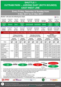 Updated NSEWL Early Closure / Late Opening Dec 2017 - Outram Park - Jurong East Shuttle (Shuttle 1)