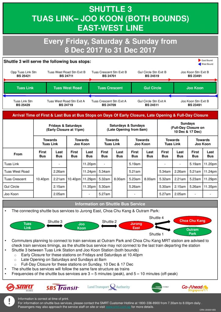 Updated NSEWL Early Closure / Late Opening Dec 2017 - Tuas Link - Joo Koon Shuttle (Shuttle 3)