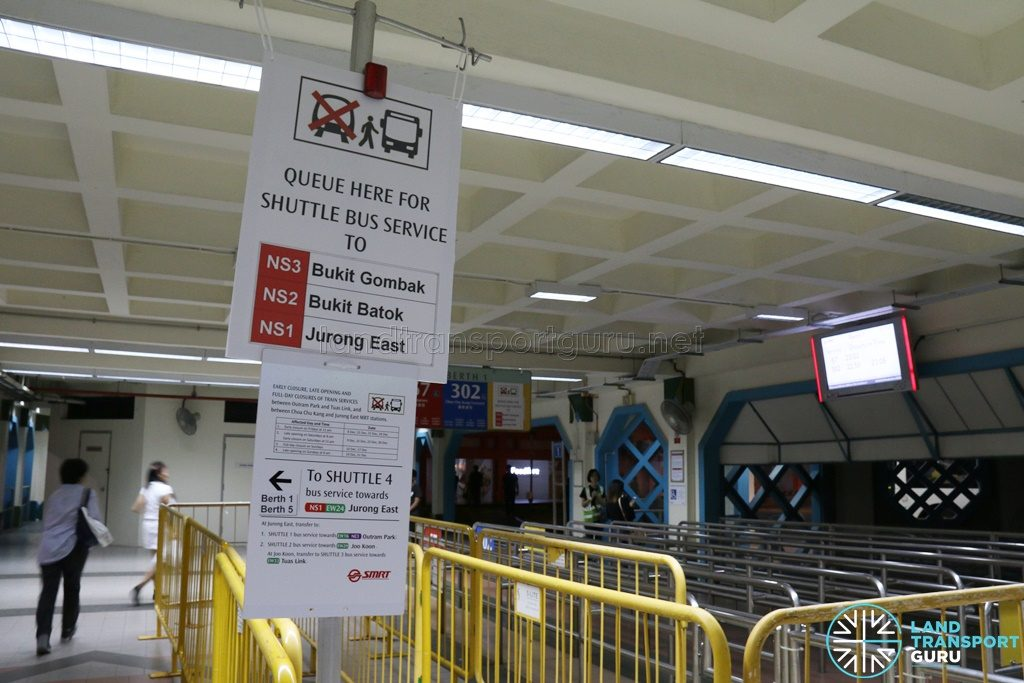 NSEWL Shortened Operating Hours - Shuttle Bus Service Queue at Choa Chu Kang
