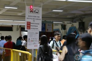 NSEWL Shortened Operating Hours - Shuttle Bus Service Queue at Choa Chu Kang