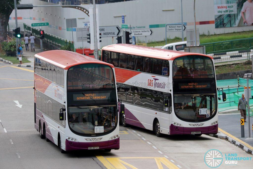 SBS Transit Volvo B9TL Wright buses on Shuttle 1: Outram Park—Jurong East