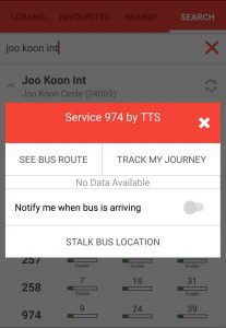 Operator of Service 974 from LTA DataMall on SG BusLeh App