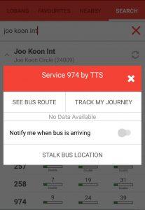 Operator of Service 974 from LTA DataMall on SG BusLeh App