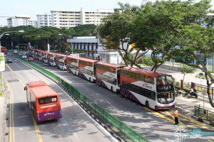Bus Queue at Aljunied - East West Line Full Day Closure