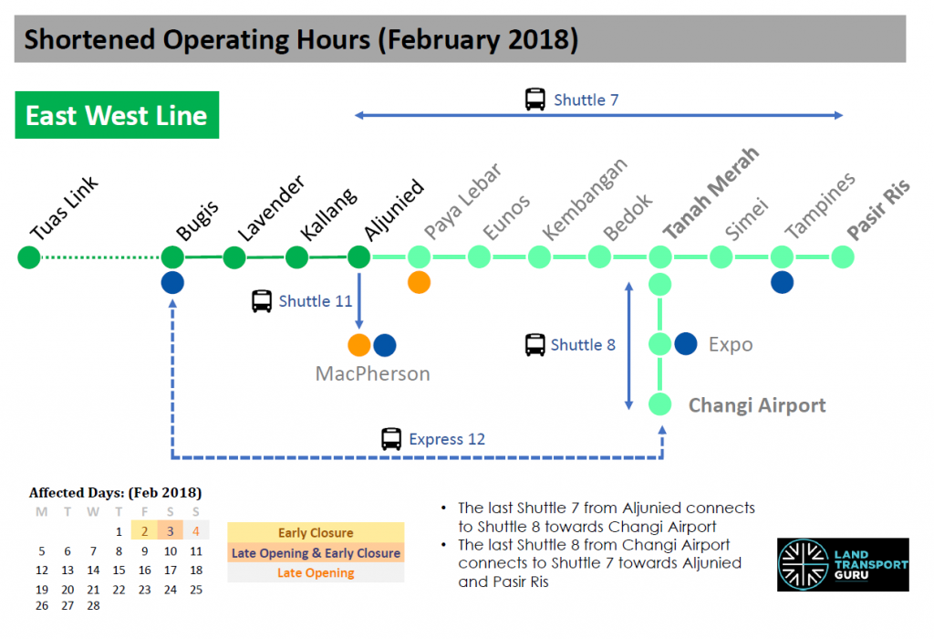 EWL Shortened Operating Hours (Feb 2018)