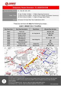 SMRT Buses Bus Diversion Poster for Chinatown Chinese New Year Celebrations 2018