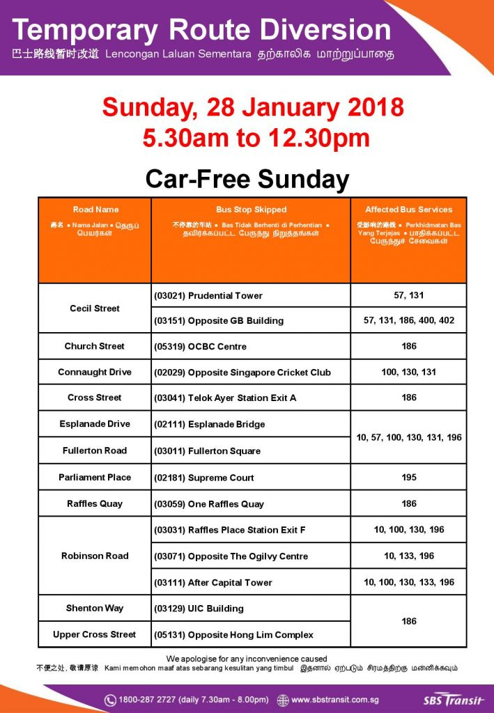 SBS Transit Bus Diversion Poster for Car Free Sunday (Jan 2018)