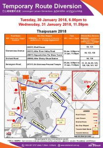 SBS Transit Bus Diversion Poster for Thaipusam 2018