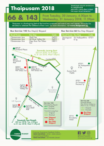 Tower Transit Bus Diversion Poster for Thaipusam 2018