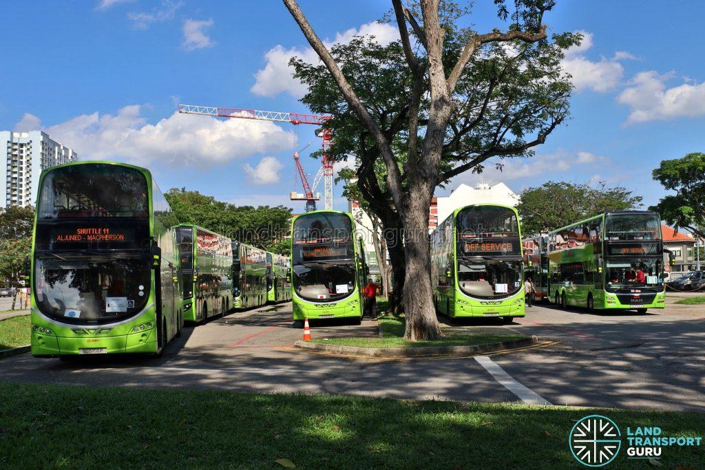 Shuttle 7 & 11 SMRT Buses laying over at Lorong 1 Geylang bus Terminal