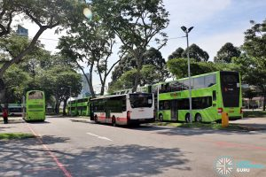 Shuttle 7 & 11 SMRT Buses laying over at Lorong 1 Geylang bus Terminal