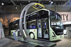 Volvo 7900 Electric at the Busworld 2016 trade show. Photo from Bus & Coach Buyer.
