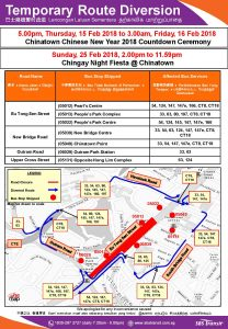 SBS Transit Bus Diversion Poster for Chinatown CNY 2018 Countdown & Chingay Night Fiesta 2018