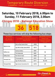 Go-Ahead Singapore Bus Diversion Poster for Chingay National Education Show 2018