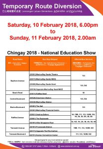 SBS Transit Bus Diversion Poster for Chingay National Education Show 2018
