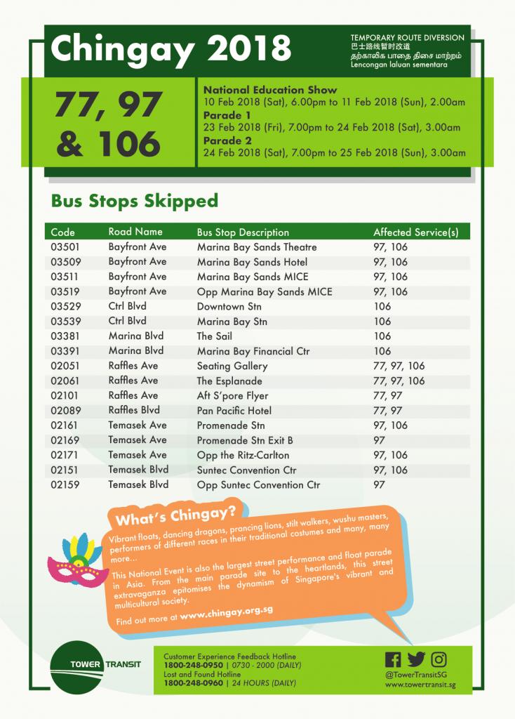 Tower Transit Bus Diversion Poster for Chingay 2018