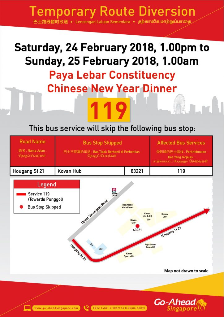 Go-Ahead Singapore Bus Diversion Poster for Paya Lebar Constituency Chinese New Year Dinner