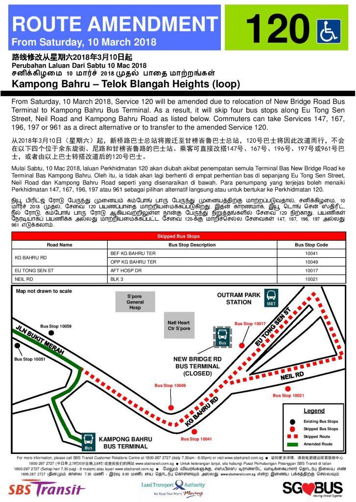 Route Amendment to Kampong Bahru Bus Terminal - Service 120 Poster
