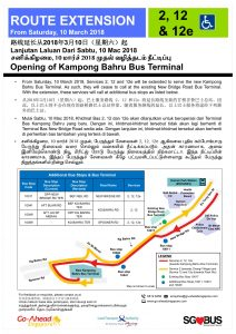 Route Extension to Kampong Bahru Ter Poster for Bus Services 2, 12 & 12e