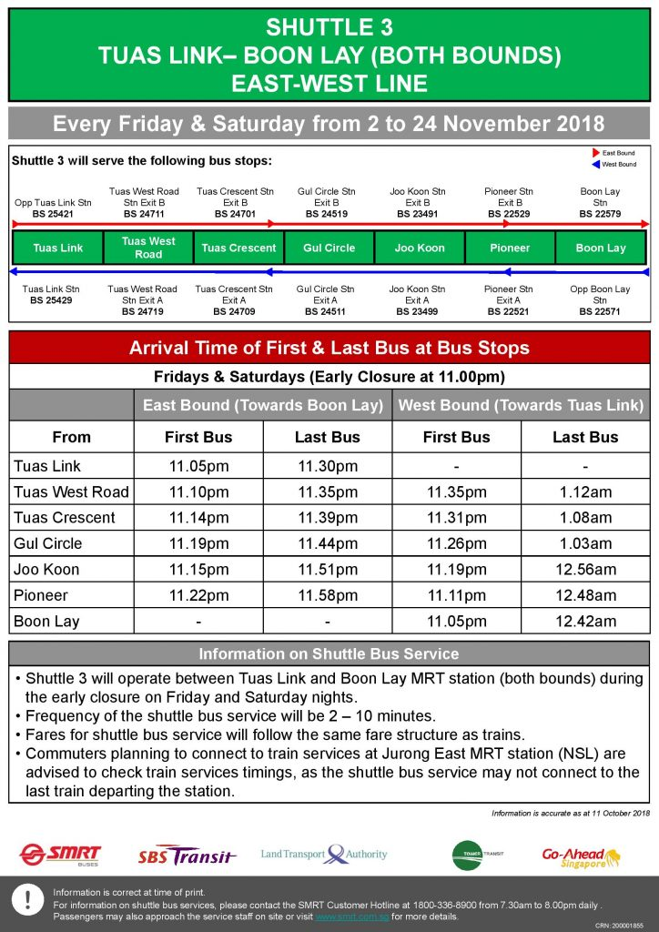 Shuttle 3 (Tuas Link – Boon Lay) Departure Timings from Stations