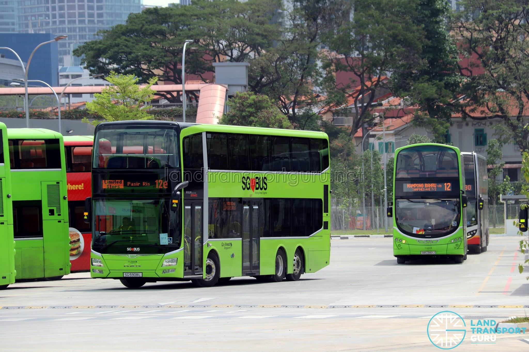 Service 12e & Service 12 at Kampong Bahru Bus Terminal