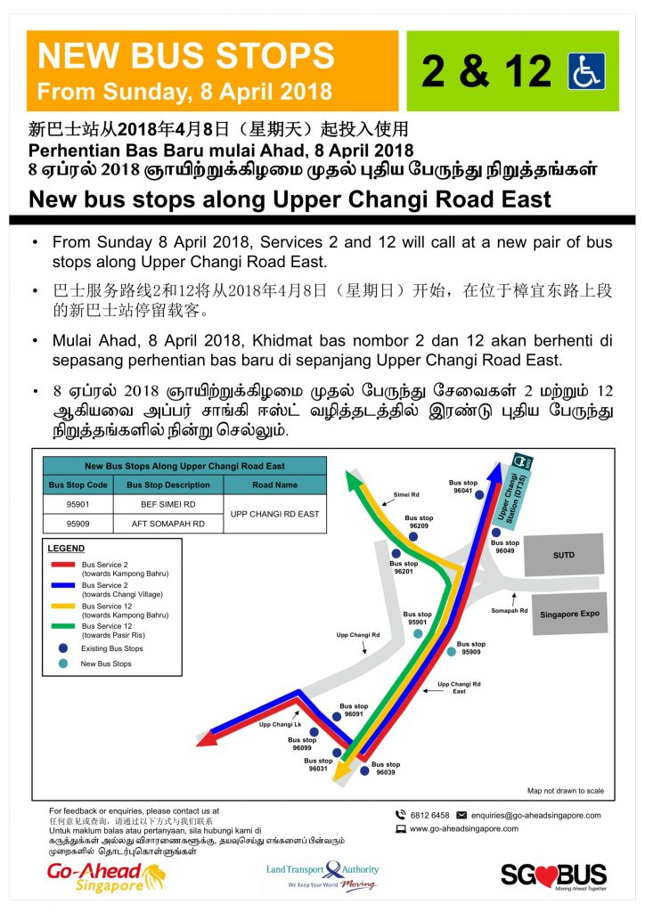 Original Poster - New Bus Stops for Bus Services 2 & 12 along Upper Changi Rd East